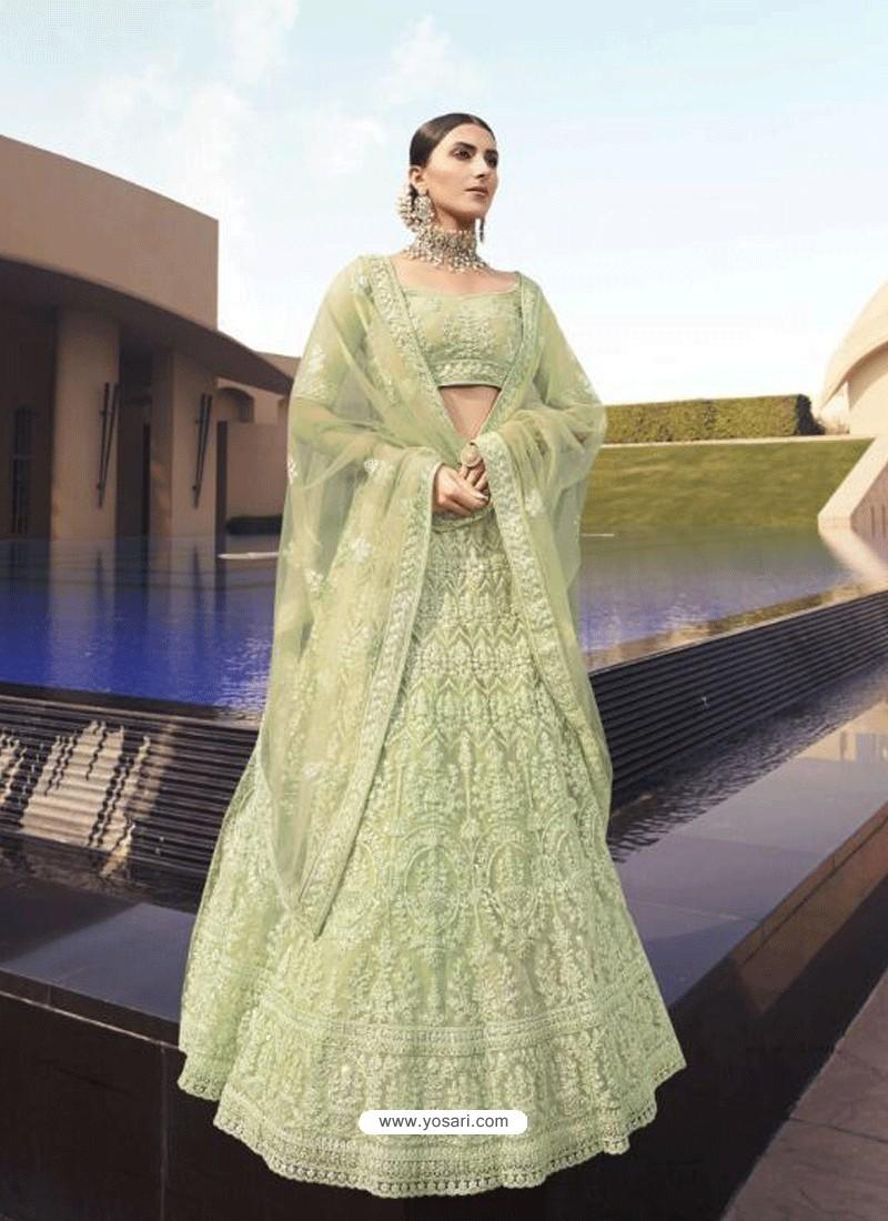 Pista Green Latest Designer Wedding Wear Lehenga Choli
