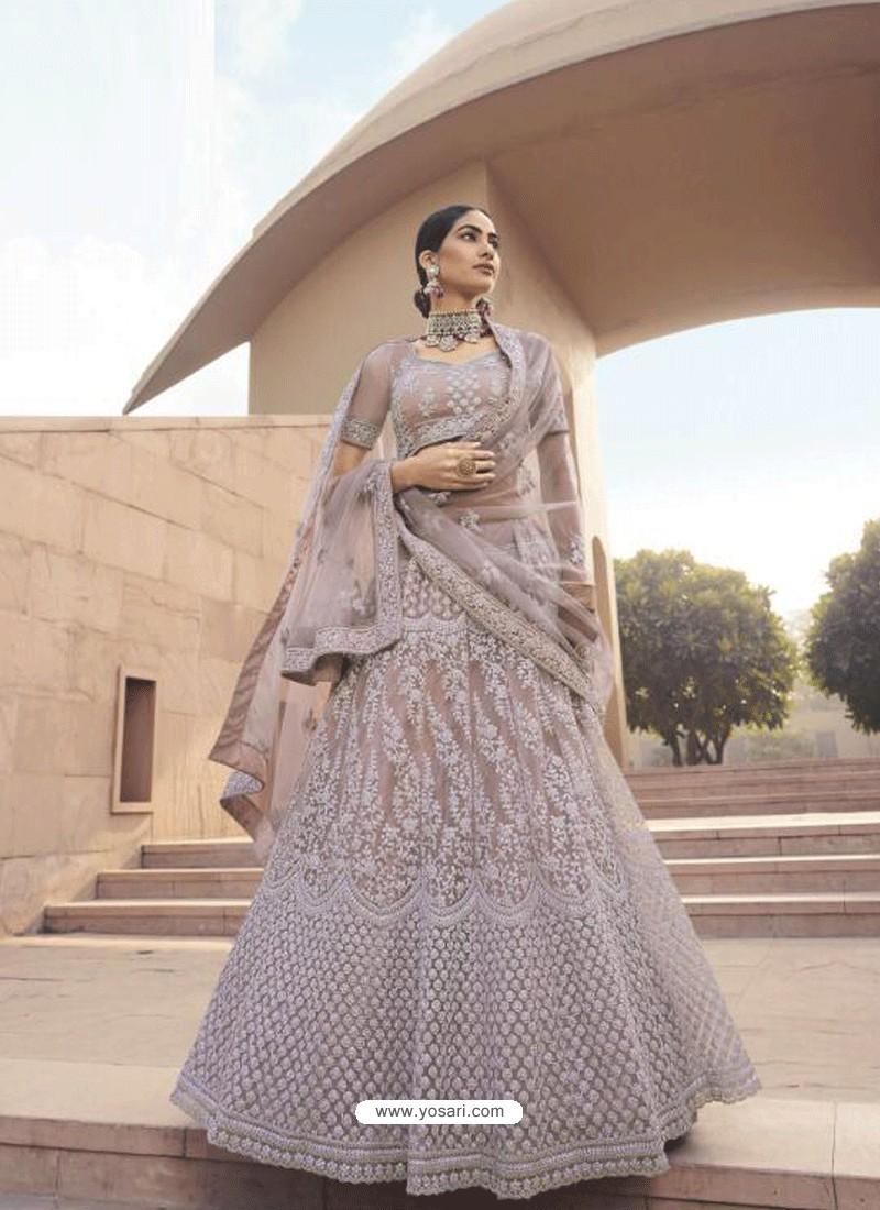 Dusty Pink Latest Designer Wedding Wear Lehenga Choli
