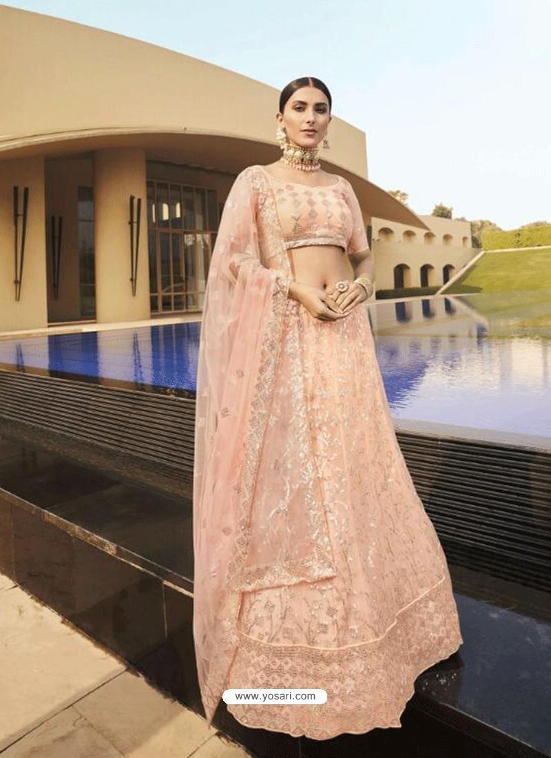 Light Orange Latest Designer Wedding Wear Lehenga Choli