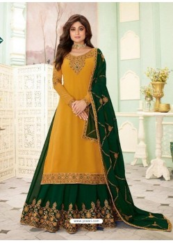 Yellow Faux Georgette Designer Party Wear Wedding Suit