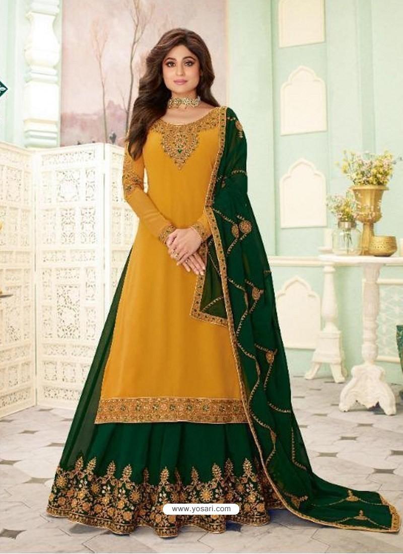Yellow Faux Georgette Designer Party Wear Wedding Suit
