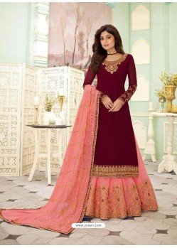 Maroon Faux Georgette Designer Party Wear Wedding Suit