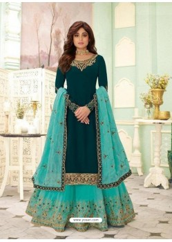 Teal Blue Faux Georgette Designer Party Wear Wedding Suit