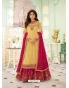 Light Yellow Faux Georgette Designer Party Wear Wedding Suit