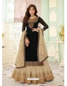 Black Faux Georgette Designer Party Wear Wedding Suit