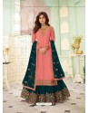 Peach Faux Georgette Designer Party Wear Wedding Suit