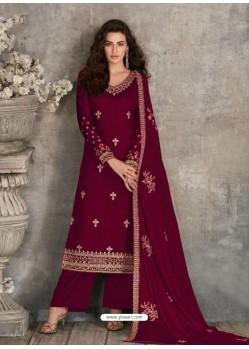 Maroon Scintillating Designer Palazzo Salwar Suit