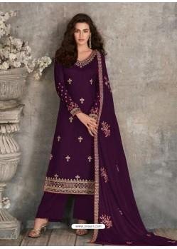 Purple Scintillating Designer Palazzo Salwar Suit