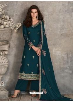 Teal Blue Scintillating Designer Palazzo Salwar Suit