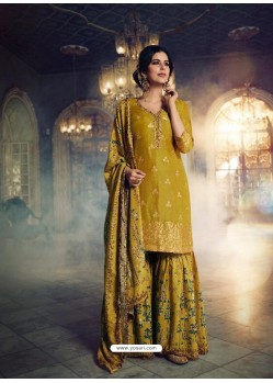 Corn Designer Pure Dola SilkᅠParty Wear Sharara Suit