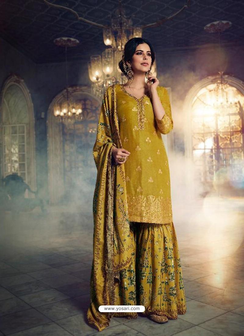 Corn Designer Pure Dola SilkᅠParty Wear Sharara Suit