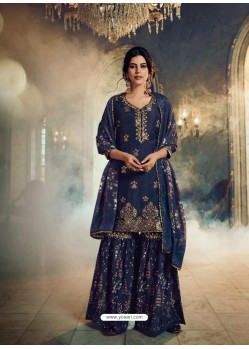 Navy Blue Designer Pure Dola SilkᅠParty Wear Sharara Suit