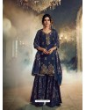 Navy Blue Designer Pure Dola SilkᅠParty Wear Sharara Suit