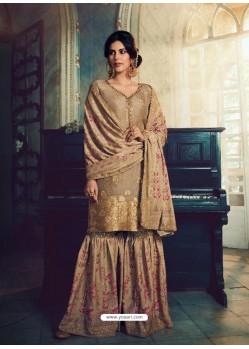 Beige Designer Pure Dola SilkᅠParty Wear Sharara Suit