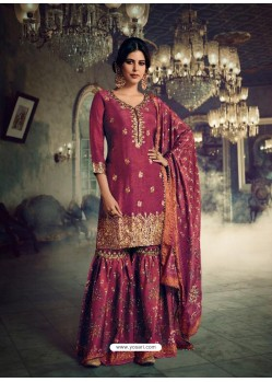 Rose Red Designer Pure Dola SilkᅠParty Wear Sharara Suit