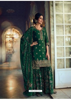 Dark Green Designer Pure Dola SilkᅠParty Wear Sharara Suit
