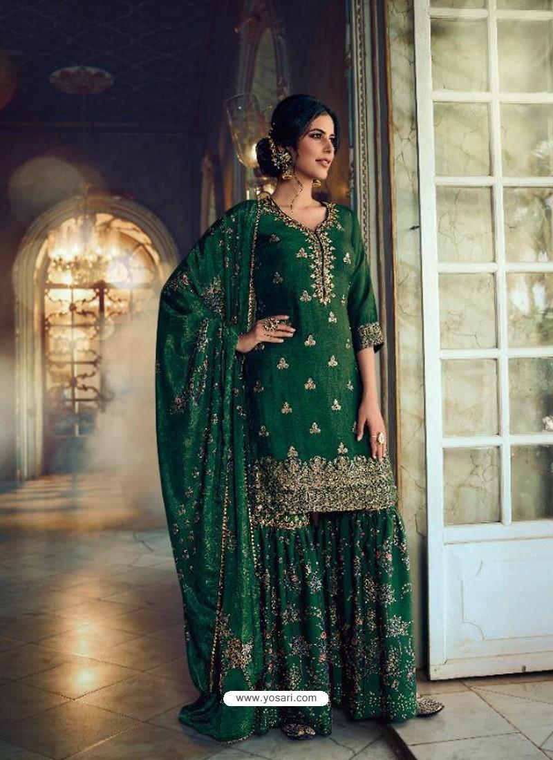 Dark Green Designer Pure Dola SilkᅠParty Wear Sharara Suit