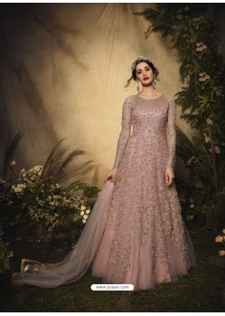 Dusty Pink Bridal Designer Party Wear Semi-Stitched Net Gown Suit