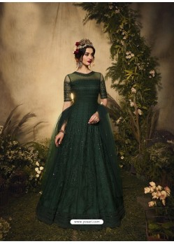 Dark Green Bridal Designer Party Wear Semi-Stitched Net Gown Suit