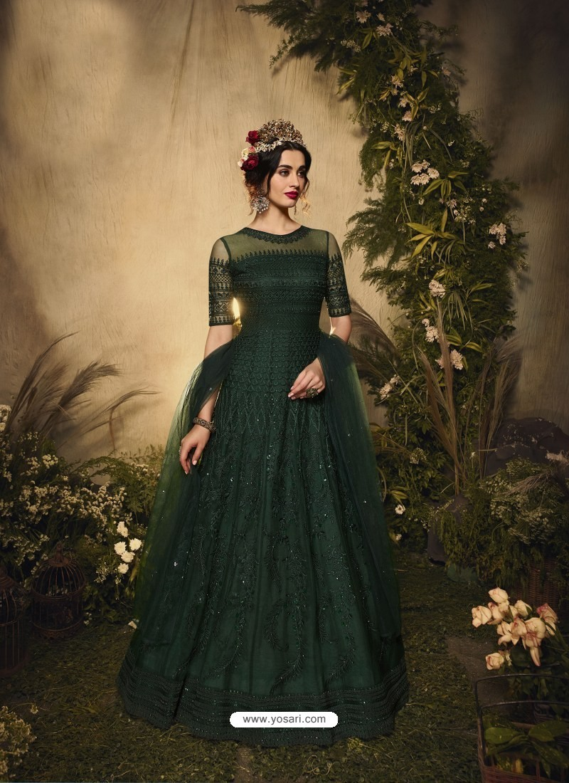 Dark Green Bridal Designer Party Wear Semi-Stitched Net Gown Suit