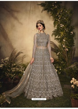 Light Beige Bridal Designer Party Wear Semi-Stitched Net Gown Suit