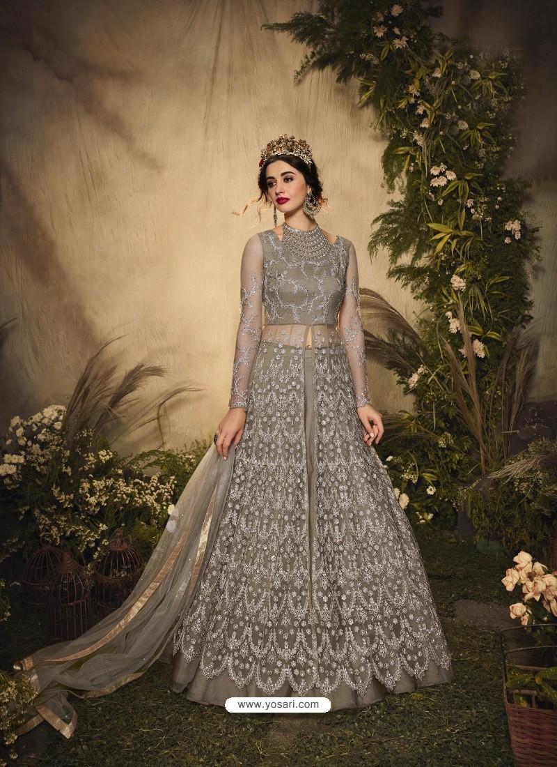 Light Beige Bridal Designer Party Wear Semi-Stitched Net Gown Suit