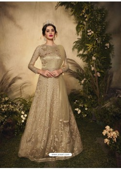 Gold Bridal Designer Party Wear Semi-Stitched Net Gown Suit