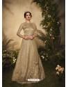 Gold Bridal Designer Party Wear Semi-Stitched Net Gown Suit