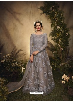Grey Bridal Designer Party Wear Semi-Stitched Net Gown Suit