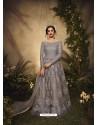 Grey Bridal Designer Party Wear Semi-Stitched Net Gown Suit