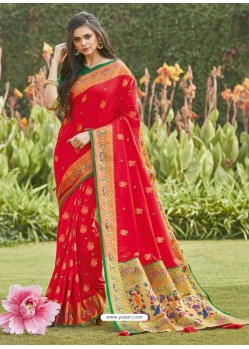 Red Latest Designer Party Wear Silk Sari