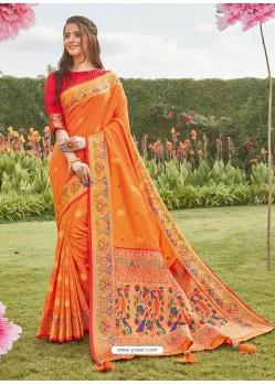 Orange Latest Designer Party Wear Silk Sari