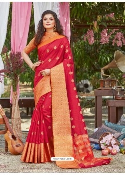 Red Latest Designer Party Wear Crystal Silk Sari