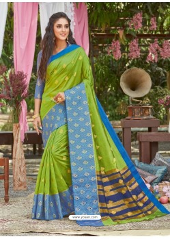 Parrot Green Latest Designer Party Wear Crystal Silk Sari