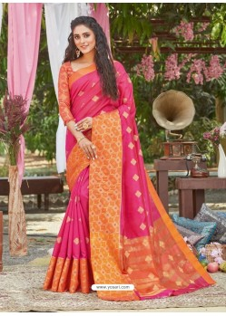 Rani Latest Designer Party Wear Crystal Silk Sari