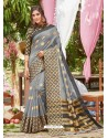 Grey Latest Designer Party Wear Crystal Silk Sari