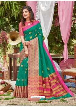 Jade Green Latest Designer Party Wear Crystal Silk Sari