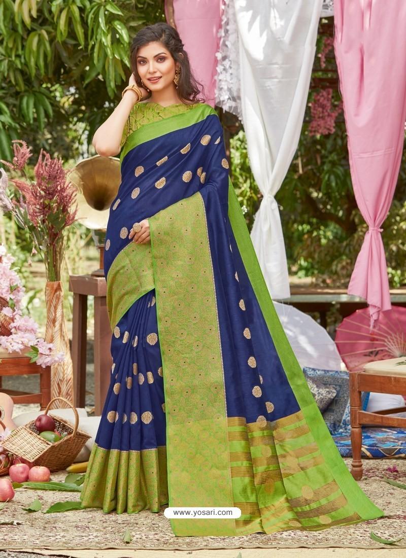 Royal Blue Latest Designer Party Wear Crystal Silk Sari