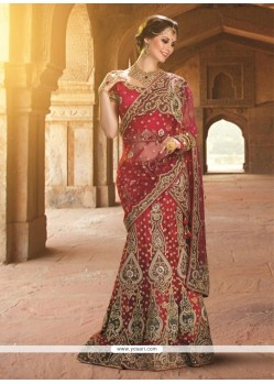 Beauteous Net Red A Line Lehenga Choli