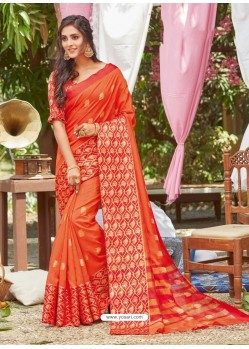 Orange Latest Designer Party Wear Crystal Silk Sari