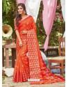 Orange Latest Designer Party Wear Crystal Silk Sari