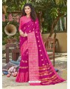 Medium Violet Latest Designer Party Wear Crystal Silk Sari