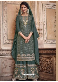Grayish Green Designer Heavy Chinon Silk Party Wear Palazzo Suit