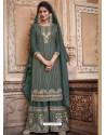 Grayish Green Designer Heavy Chinon Silk Party Wear Palazzo Suit