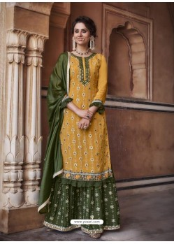 Yellow Designer Heavy Chinon Silk Party Wear Palazzo Suit
