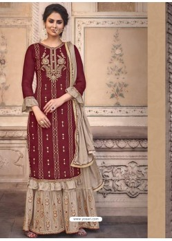 Maroon Designer Heavy Chinon Silk Party Wear Palazzo Suit