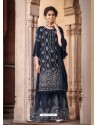 Navy Blue Designer Heavy Chinon Silk Party Wear Palazzo Suit
