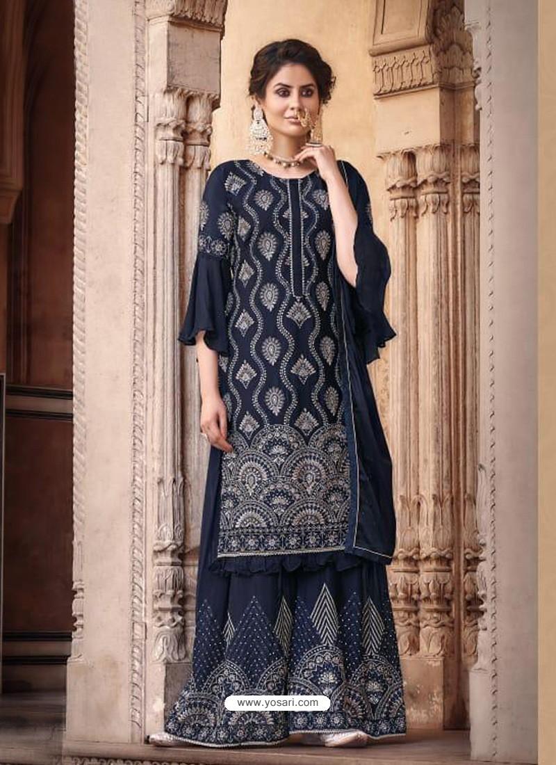 Navy Blue Designer Heavy Chinon Silk Party Wear Palazzo Suit