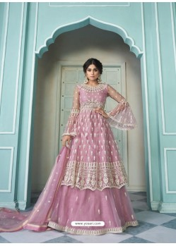 Pink Butterfly Net Designer Party Wear Wedding Lehenga Suit