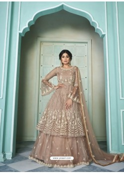 Light Brown Butterfly Net Designer Party Wear Wedding Lehenga Suit